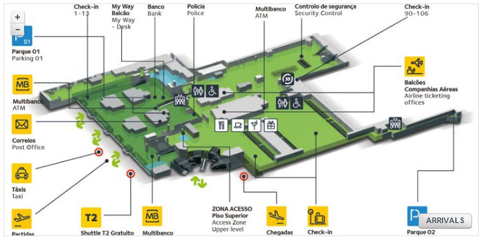 Airport in Lisbon map Aeroporto Lisboa lotnisko w Lizbonie mapa plan