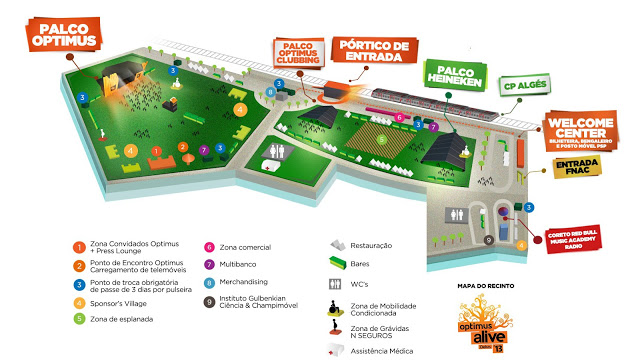 Optimus Alive 2013 maps program festiwal
