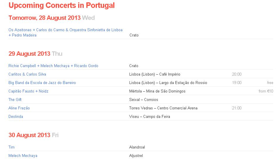 Koncerty w Portugalii Lizbonie Lizbona koncerty lista