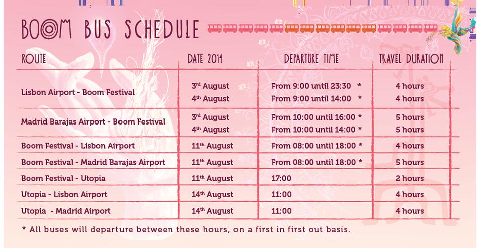 BoomBus Festival 2014 schedule