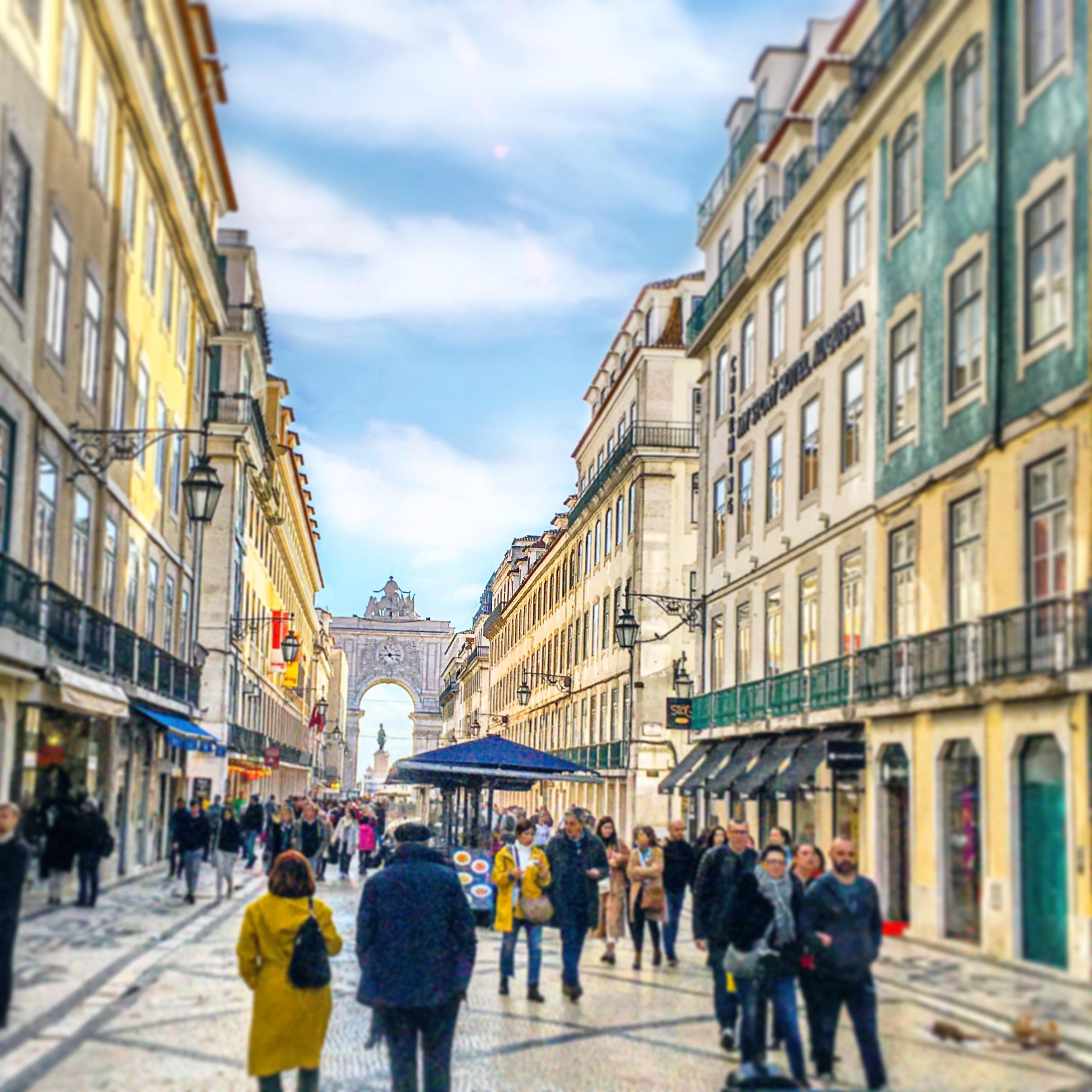 Rua Augusta w Lizbonie Lizbonie Główny Deptak Centrum Miasta