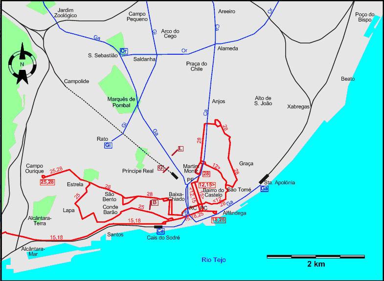 Lisbon tram maps Lizbona tramwaje mapa