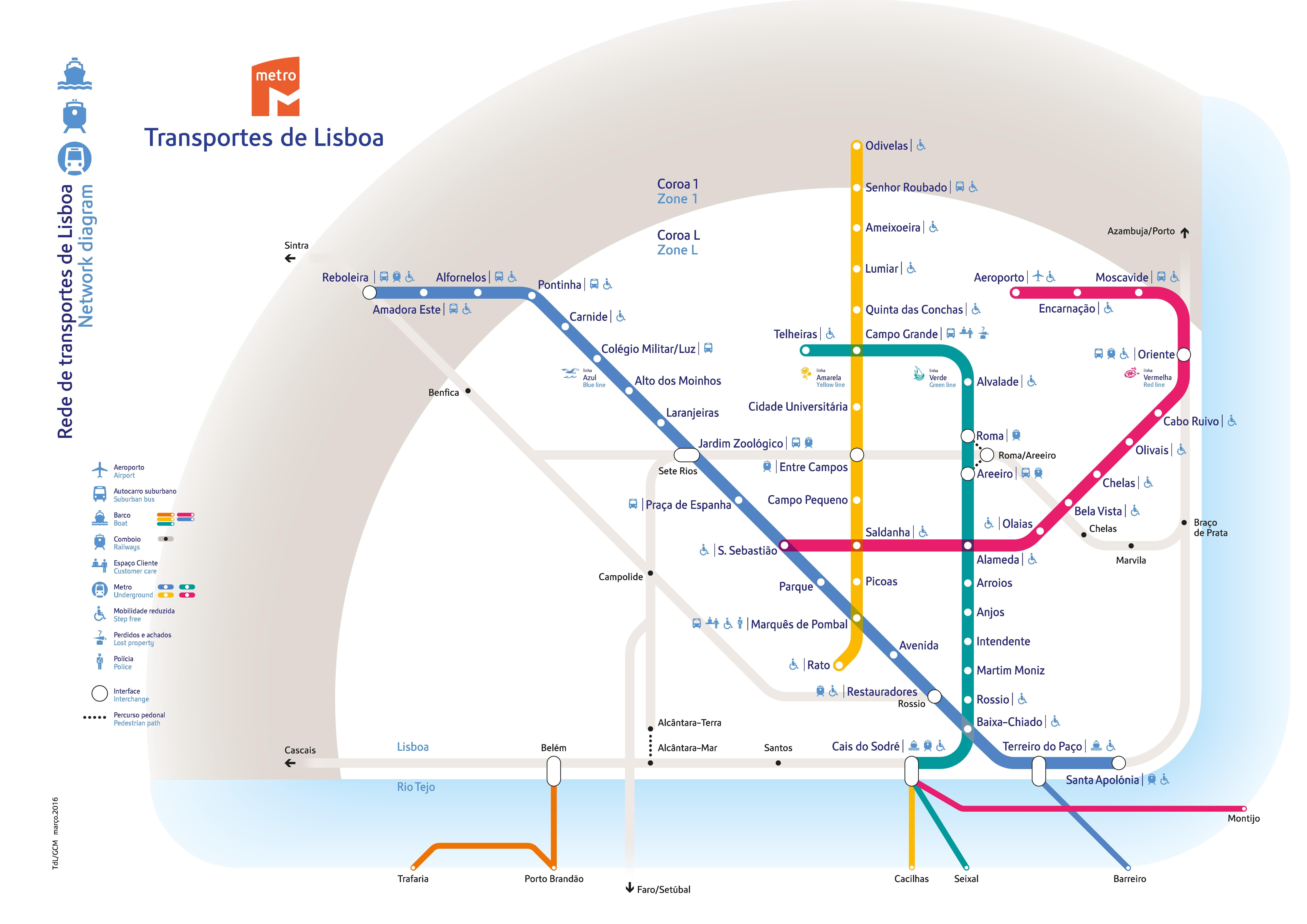 Lizbona metro mapa schemat metro w Lizbonie subway underground aktualny plan 2016 przewodnik Lisbona Lisbonie Lisboa