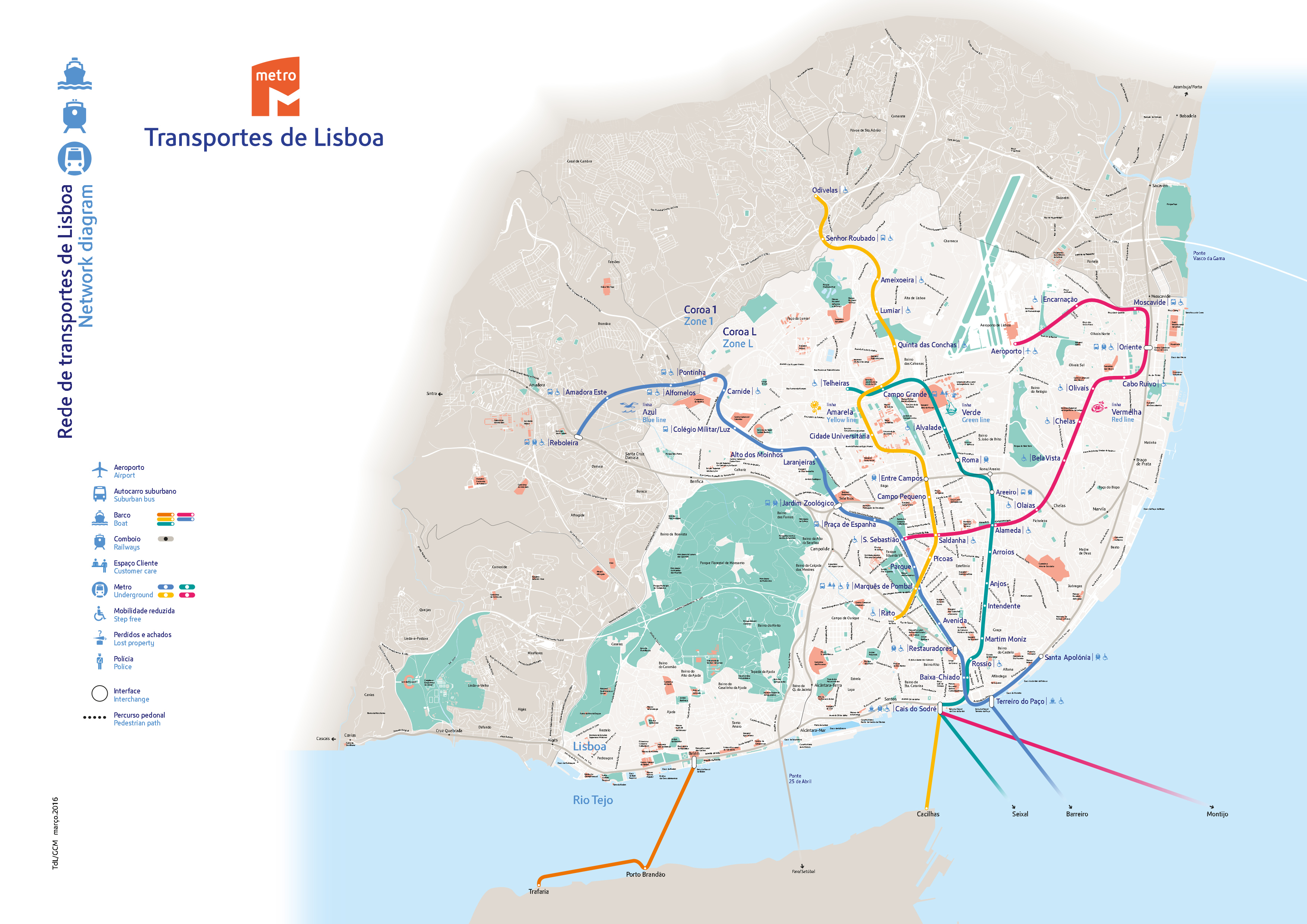 Metro w Lizbonie na mapie Lizbony plan schemat układ aktualny rozkład Lizbona Lisbona metra przewodnik 2016