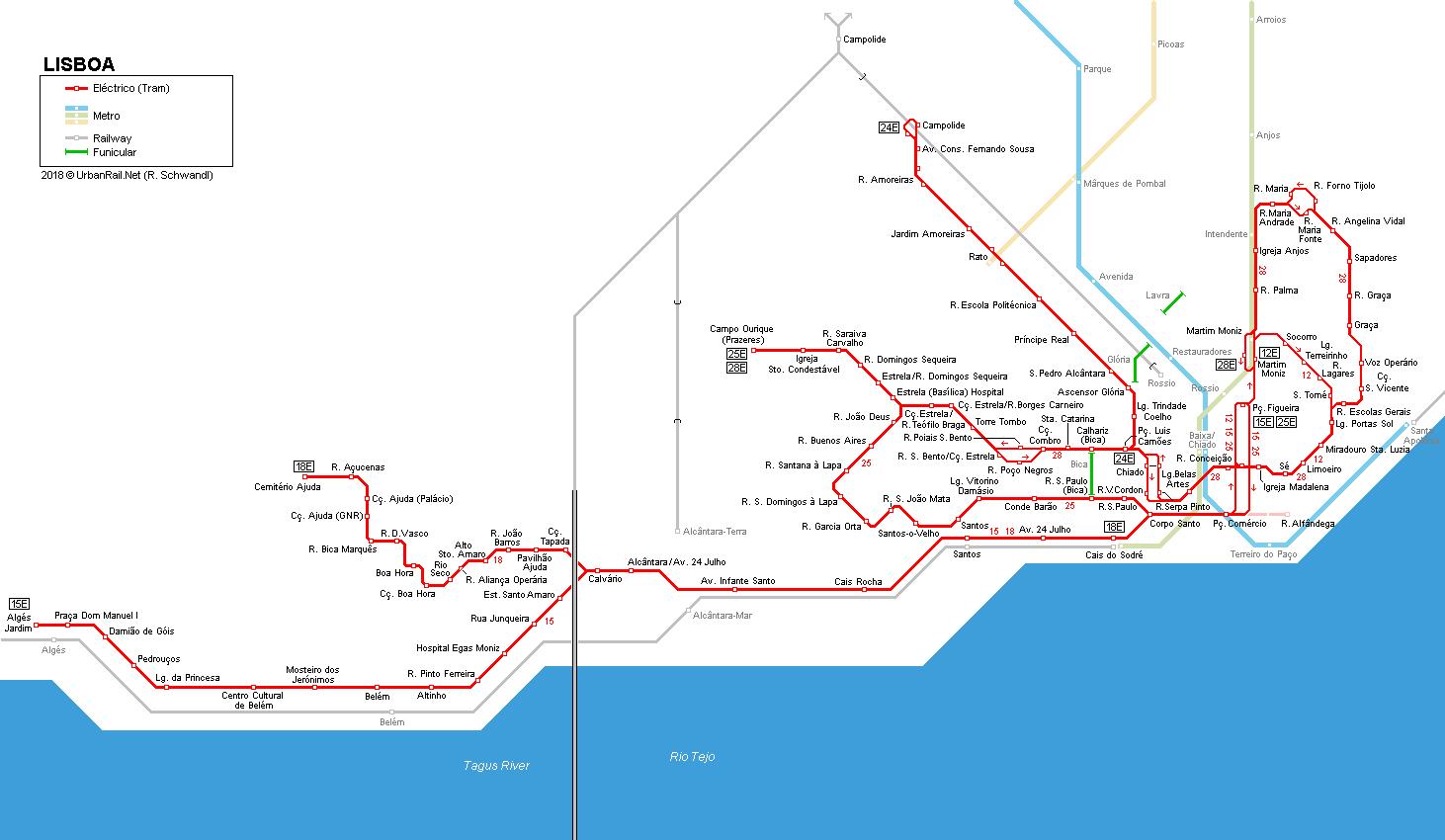 Tramwaje w Lizbonie schemat rozkład jazy bilety trasy zwiedzanie Lizbony Opis Mapa