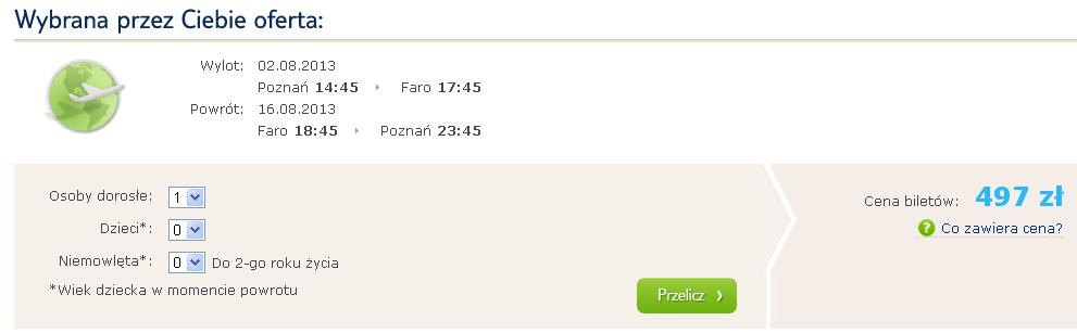 Tanie loty Portugalia Polska Faro 2013 czartery TUI