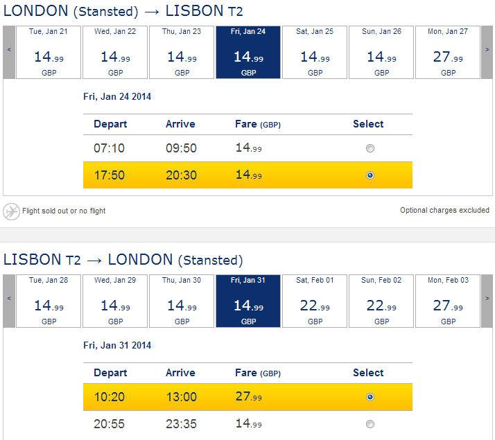Tanie loty do Lizbony styczeń 2014