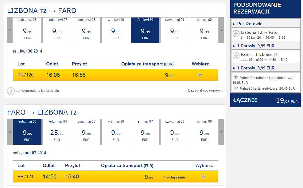Tanie loty Lizbona - Faro maj i kwiecień 2014 ceny Portugalia