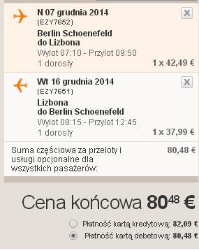 Tanie loty Berlin Lizbona 2014 easyJet 1