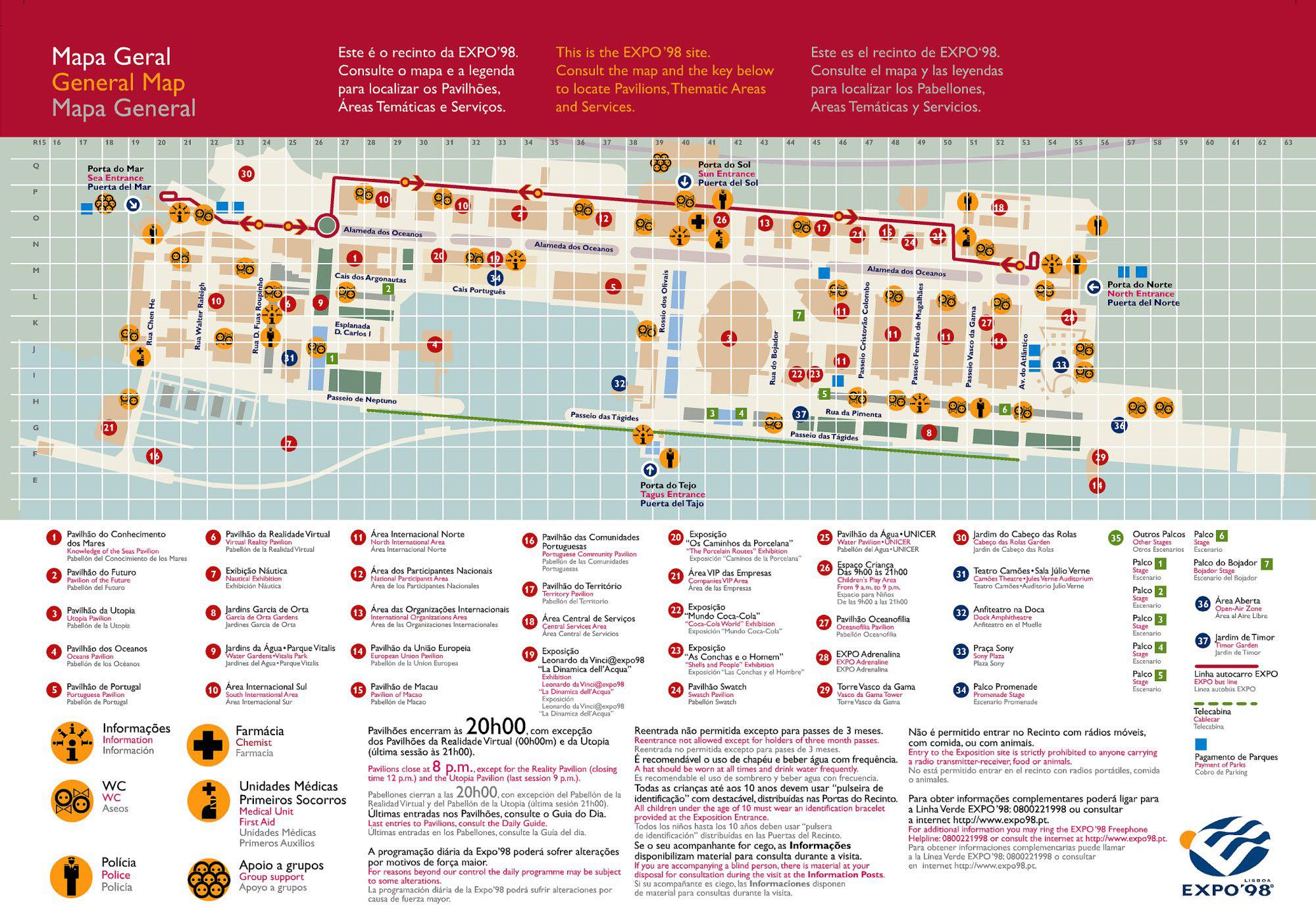 Expo 98 mapa Lizbona Oriente Park Narodów foto