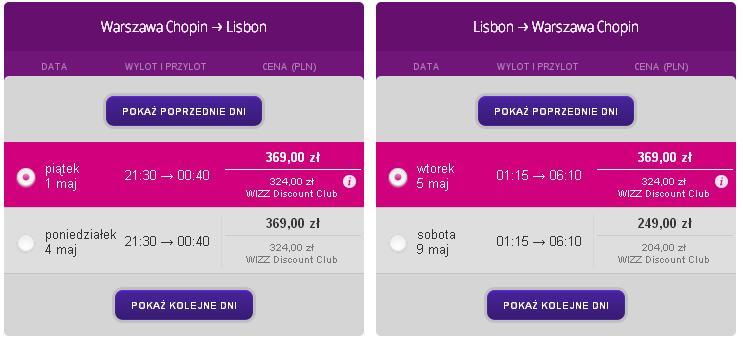 Tanie loty Warszawa Lizbona WizzAir 1