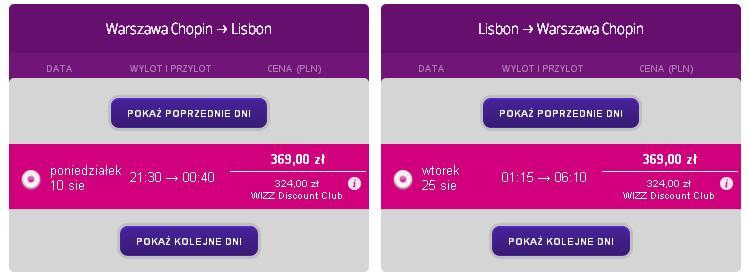 Tanie loty Warszawa Lizbona WizzAir 5