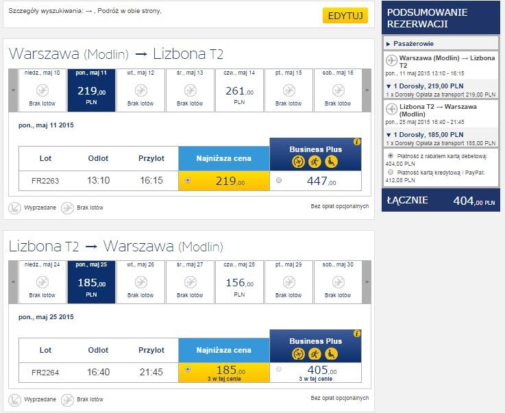 Tanie loty z Warszawy do Lizbony Ryanair 2015
