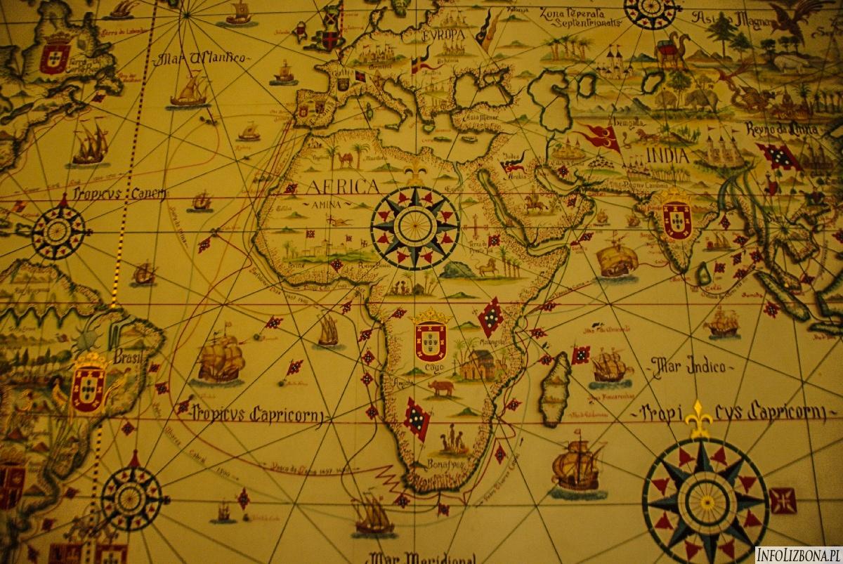 Mapa odkryć Portugalii oraz jej posiadłości zamorskich w XVI wieku