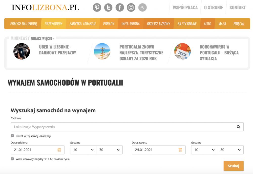 Jak wynająć samochód auto w Portugalii tanio bezpiecznie bez karty kredytowej opinie porady wskazówki wypożyczalnie samochodów lokalne sprawdzone małe polski przewodnik po Lizbonie