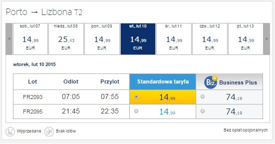 Ryanair Tanie Loty Lizbona Porto 2015