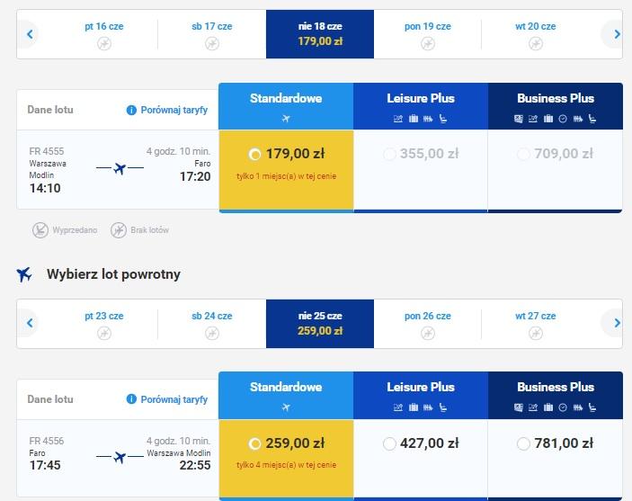 Warszawa Modlin Faro Portugalia Algarve loty wakacje 2017 tanie bilety połączenia bezpośrednie Ryanair
