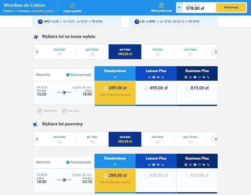 Wrocław Lizbona Lisbona Lisboa tanie loty połączenia bezpośrednie cena bilety wakacje 2017 Ryanair lotnisko przewodnik