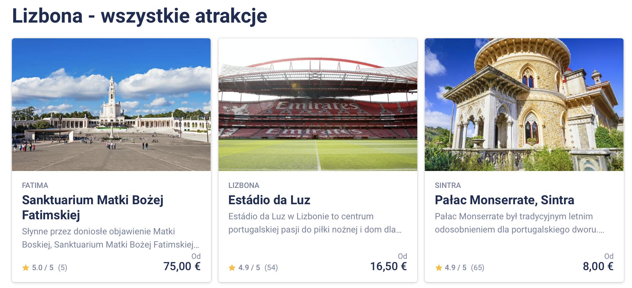 Lizbona Mapa Turystyczna Restauracje Zabytki Atrakcje Turystyczne Bilety Online Polski Przewodnik po Lizbonie Wejściówki Online Jak Kupić Gdzie jeść
