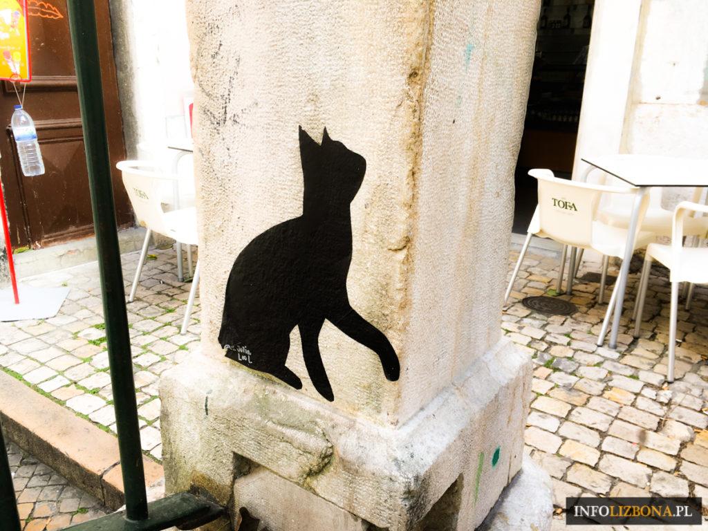 Kocia Ulica w Lizbonie Koty Lizbona Uliczka Street Art Mouraria Polski Przewodnik po Lizbonie Lisbonie Street Art Tours Portugalia Zwiedzanie Mural Fado Kot